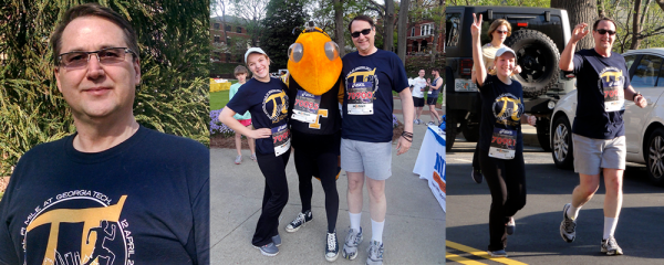 Daniel Howard and his daughter are pictured here participating in the annual Pi Mile at Georgia Tech in 2014.